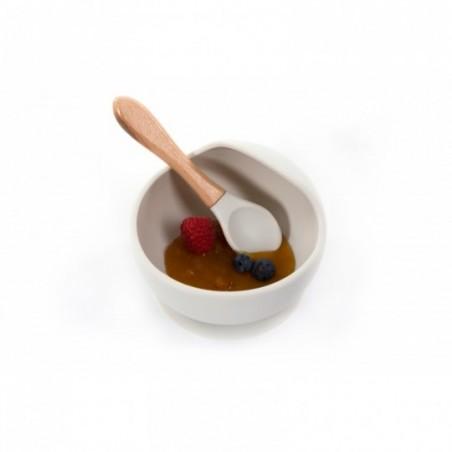 Bojungle  Assiette ventouse & cuillère gris