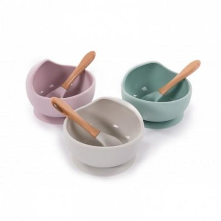 Bojungle  Assiette ventouse & cuillère bleu