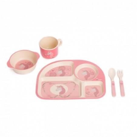 Bojungle  Dinner set maïs - roze eenhoorn