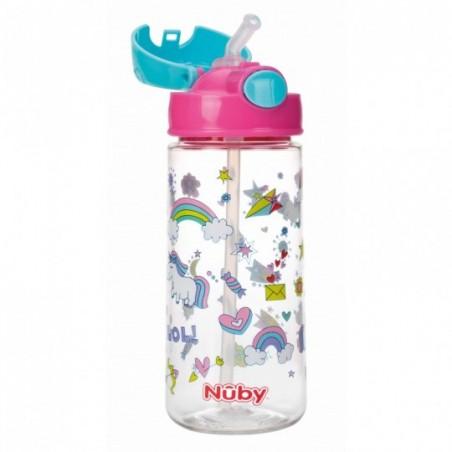 Nuby Gobelet thermos paille souple et bouton push en Tritan™ - rose