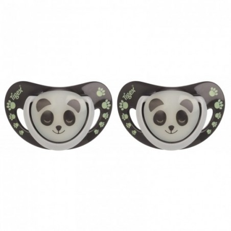 Tigex Fopspenen SMART NIGHT  Silicon PANDA Glow in the Dark 2 stuks