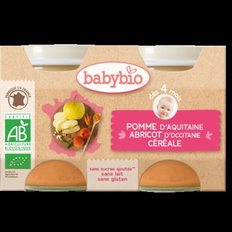 Babybio Babybio Appel - Abrikoos - Granen (vanaf 4 maanden) 2 stuks Bio