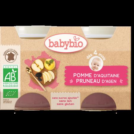 Babybio Pomme - Pruneau (dès 4 mois) 2 pièces Bio