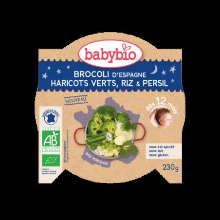 Babybio Bonne Nuit - Brocoli et haricots verts - Riz (dès 12 mois) Bio