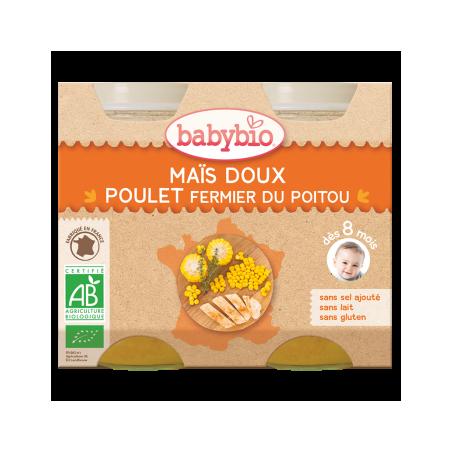 Babybio Maïs doux et poulet (dès 8 mois) 2 pièces Bio