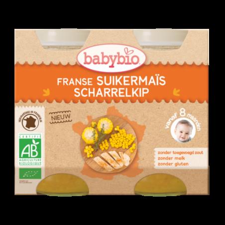 Babybio Zachte maïs en kip (vanaf 8 maanden) 2 stuks Bio