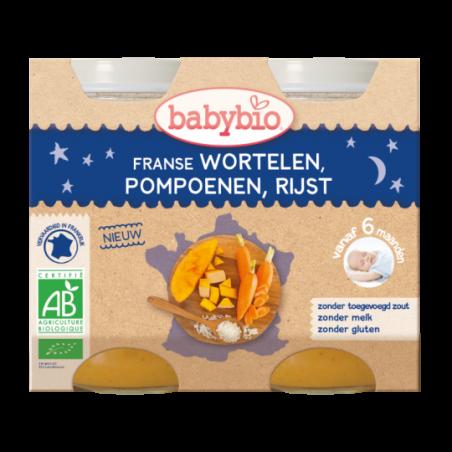 Babybio Bonne Nuit - Carottes - Butternut - Riz (dès 6 mois) 2 pièces Bio
