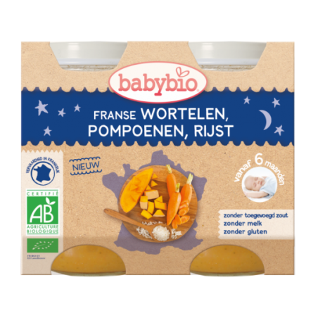 Babybio Slaap Lekker - Wortelen - Pompoen - Rijst (vanaf 6 maanden) 2 stuks Bio