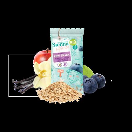 Sienna & Friends Snack Cru Myrtille & Vanille Bio 16 pièces
