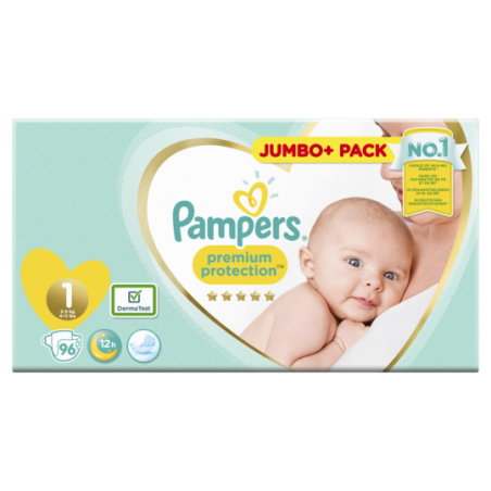 Pampers Premium protection Jumbo Taille 1 96 pièces