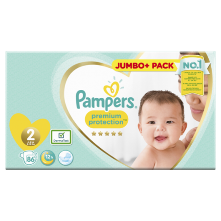 Pampers Premium protection Jumbo Taille 2 86 pièces