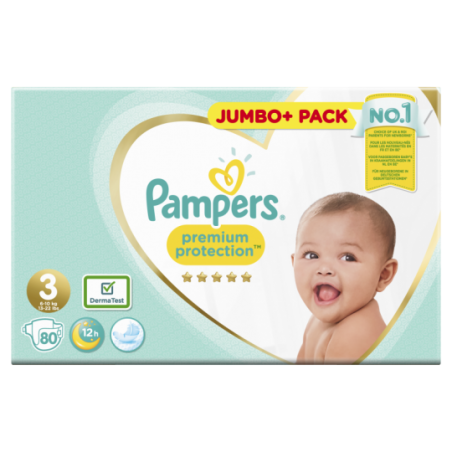 Pampers Premium protection Jumbo Taille 3 80 pièces