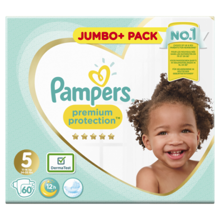 Pampers Premium protection Jumbo Taille 5 60 pièces