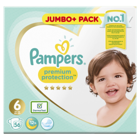 Pampers Premium protection Jumbo Taille 6 56 pièces