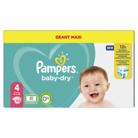 Pampers Baby dry maxi geant Taille 4 92 pièces
