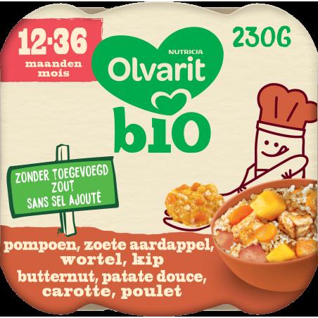 Olvarit Bio maaltijd pompoen zoete aardappel wortel kip petuer vanaf 12M 230g Bio