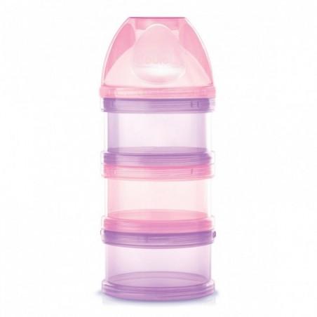 Dodie Boîte doseuse de lait 3 compartiments rose