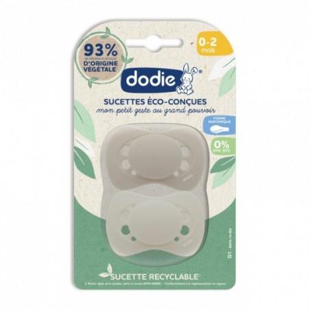 Dodie Dodie Eco-Ontworpen Fopspeen Baby's 0-2 Maanden G1 Beige 2 stuks