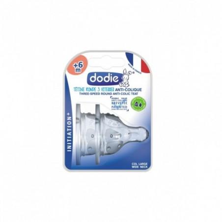 Dodie Tétine Initiation+ ronde 3 vitesses col large +6 mois silicone débit 4 spéciale liquide épais 2 pièces