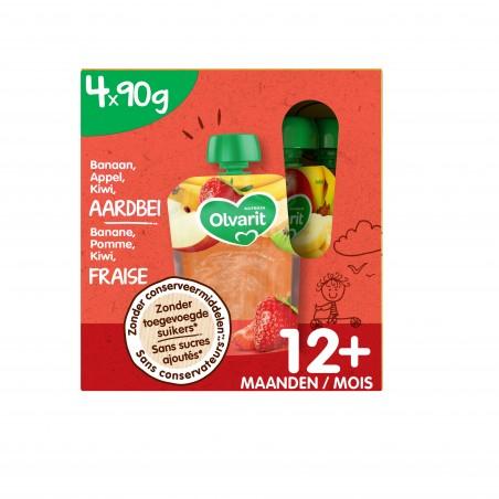 Olvarit fruit knijpzakjes baby appel aardbei kiwi 12M multipack 4x90g