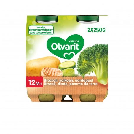 Olvarit petit pot repas bébé brocolis dinde pomme de terre 12M 2x250g