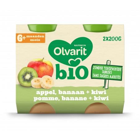 Olvarit fruitpap babypuree appel banaan kiwi vanaf 6M 2x200g Bio