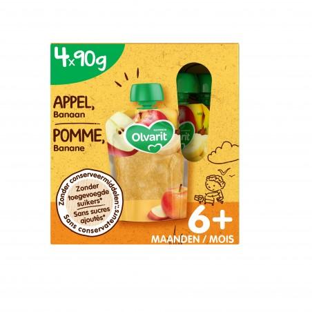 Olvarit fruit knijpzakjes baby appel banaan 6M multipack 4x90g