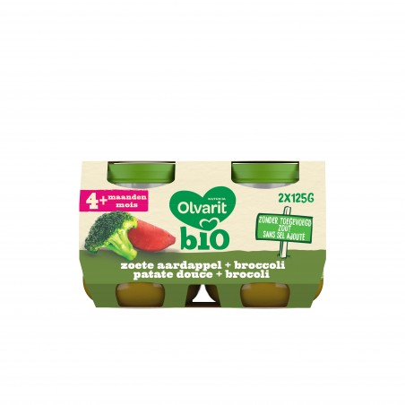 Olvarit groentenpap babypuree zoete aardappel broccoli 4M 2x125g Bio