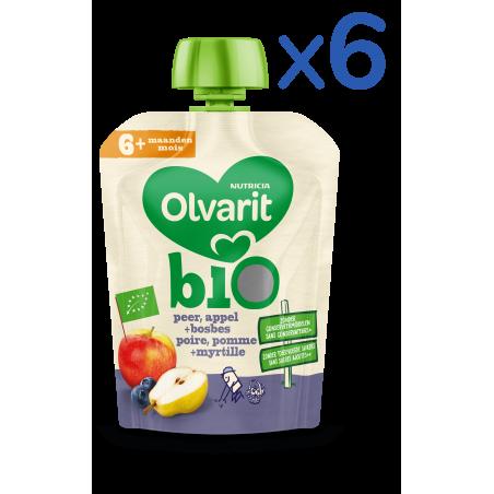 Olvarit fruit knijpzakje Peer Appel Blauwe Bes baby's vanaf 6M 6x90g Bio