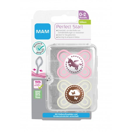 MAM Sucette perfect start silicone 0-2 rose