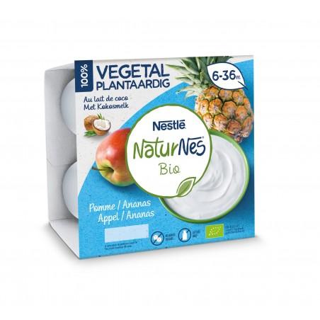 Naturnes Végétal Pomme Ananas au lait de coco 90g 4 pièces Bio
